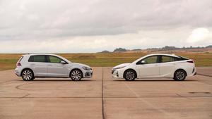 Thema u.a.: Vergleichstest Golf e vs. Toyota Prius