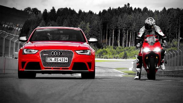 Audi RS4 gegen Ducati Panigale - BMW M6 - Det sucht Rennsemmel